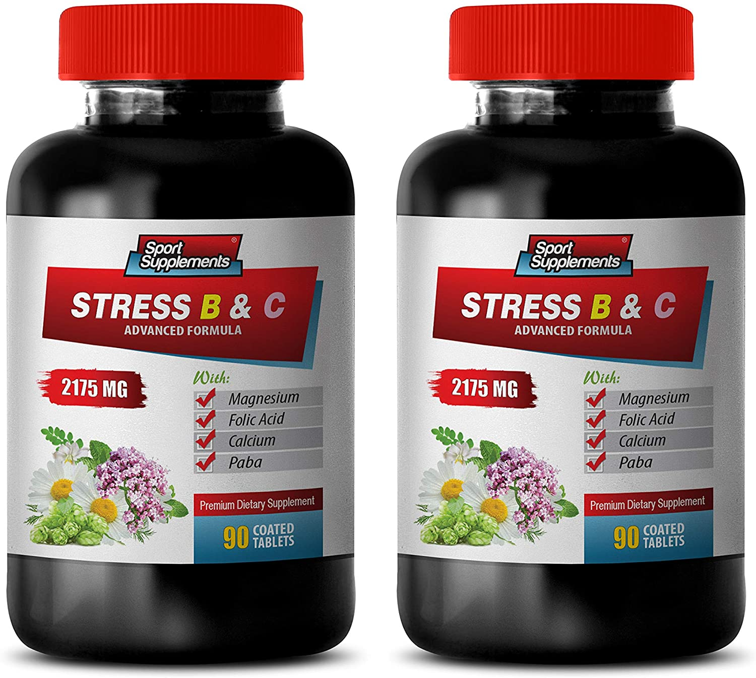 Anxiety Soother - Stress Relief B and C Complex - Anxiety Relief - Sleep Quality Boost - Natural Solution - Valerian Extract - 2 Bottles (180 Tabs)