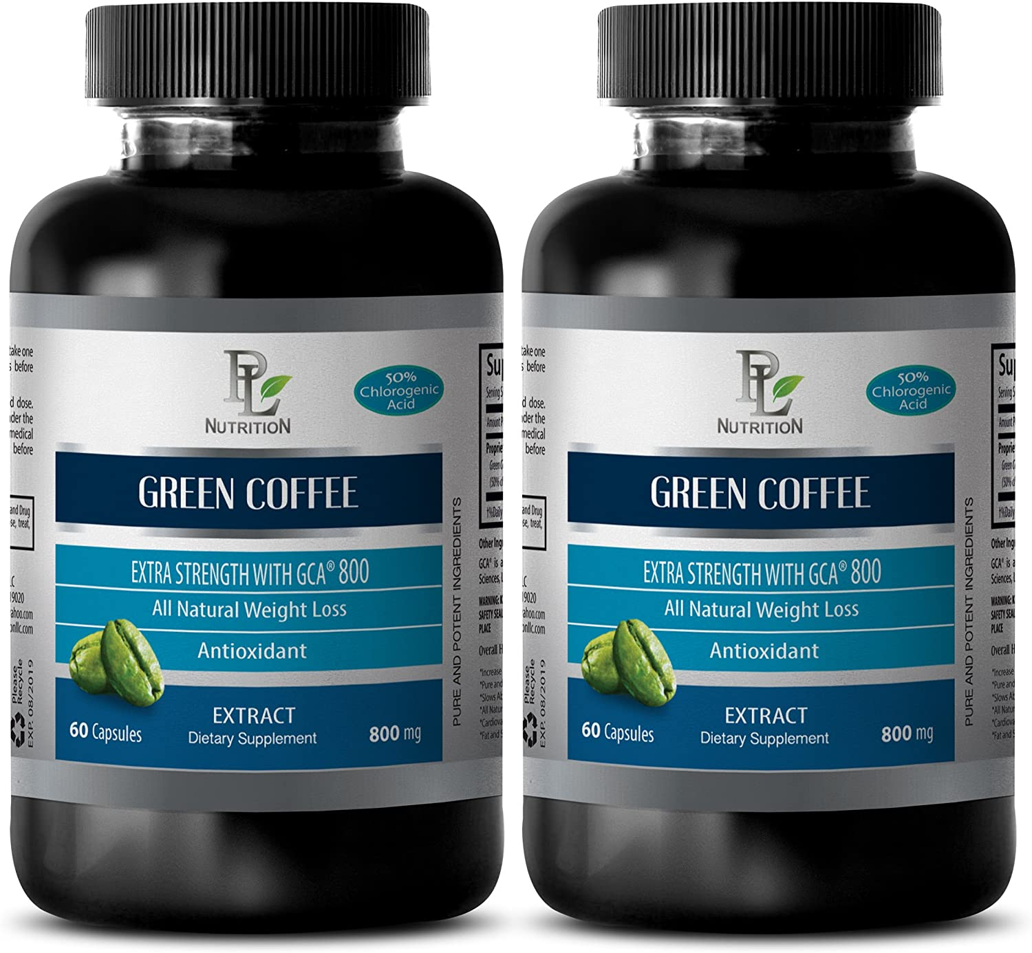 Immune Support Supplement - Green Coffee - Extra Strength with GCA 800MG GCA 800MG - Green Coffee Cleanse Bean Extract - 2 Bottles (120 Capsules)