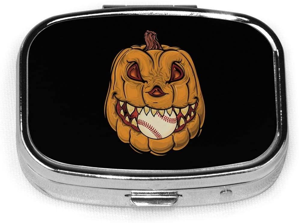 Pumpkin Halloween Custom Fashion Silver Square Pill Box Medicine Tablet Holder Wallet Organizer Case for Pocket Or Purse