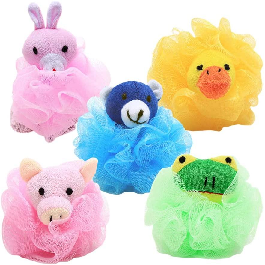 NUOBESTY Bath Shower Sponge Scrubber Mesh Shower Ball Pouf Cartoon Animal Shaped Bath Ball for Kids Girl Toddler Children Bathroom Supplies 4pcs (Random Style)