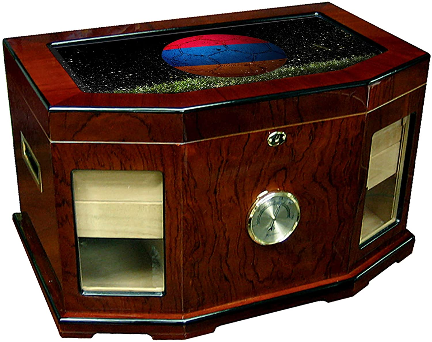Large Premium Desktop Humidor - Glass Top - Flag of Armenia (Armenian) - Soccer Design - 300 Cigar Capacity - Cedar Lined with Two humidifiers & Large Front Mounted Hygrometer.