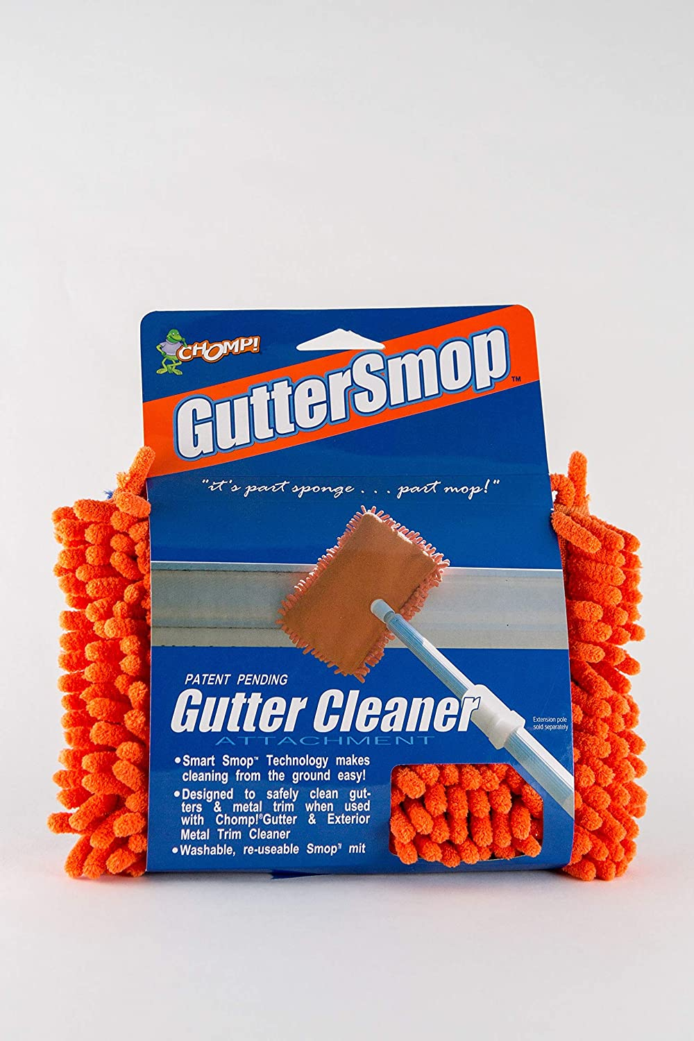 CHOMP Microfiber Gutter Cleaner Tool: Ultimate Gutter Cleaning Smop for All Types of Rain Gutters, Siding and Metal Trim - Instantly Clean Black Streaks, Mold, Mildew, Algae, Dirt and More