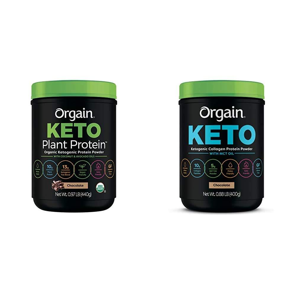 Orgain Keto Plant-Based Protein Powder, Chocolate- Keto Friendly, Organic, Vegan, Gluten Free, Organic Prebiotic Fiber, 0.97 Pound & Keto Collagen Protein Powder with MCT Oil, Chocolate - 0.88 Pound