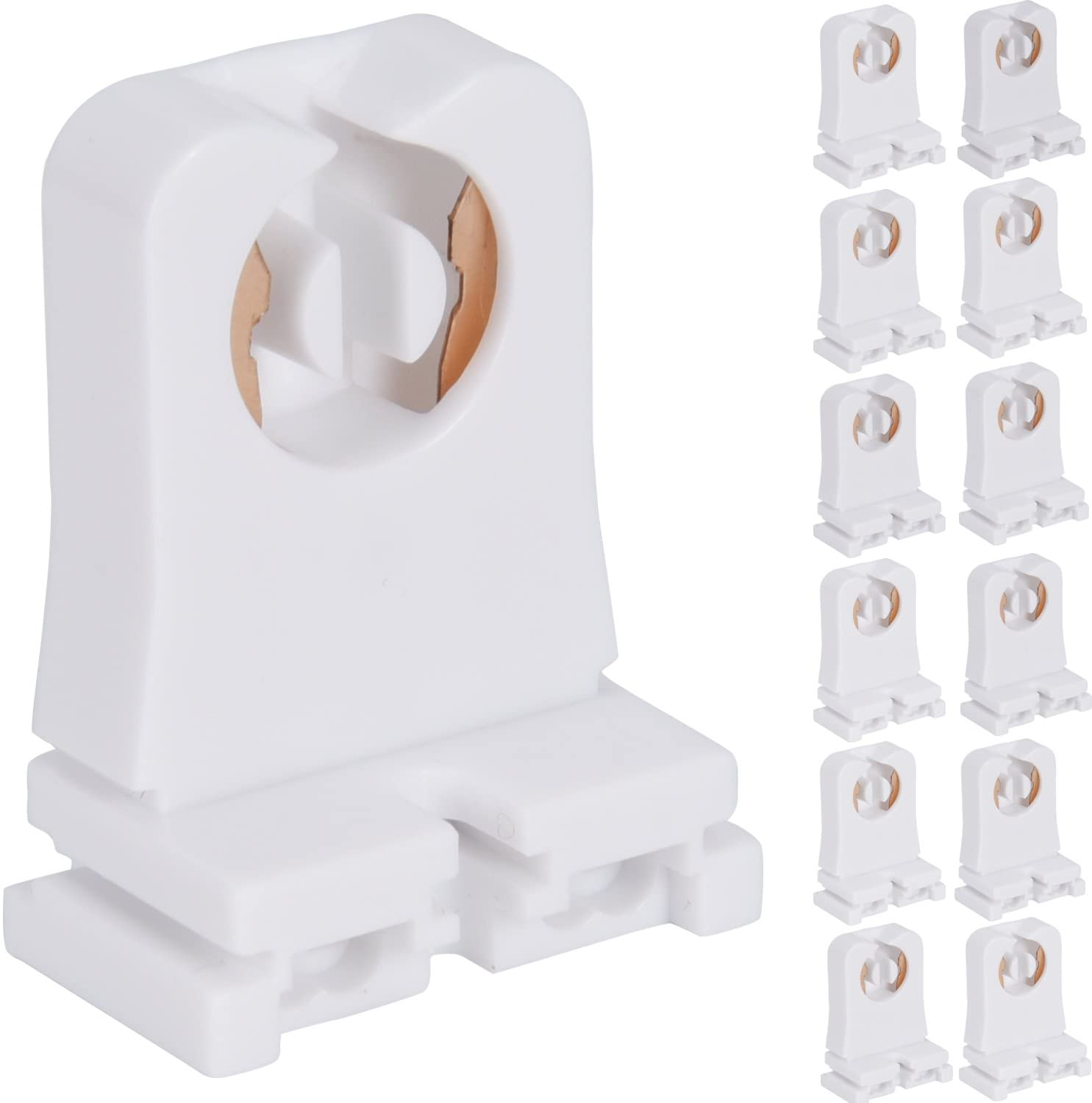 Non-shunted Turn Type T8 Lamp Holder JACKYLED 12-Pack UL Socket Tombstone for LED Fluorescent Tube Replacements Medium Bi-pin Socket for Programmed Start Ballasts