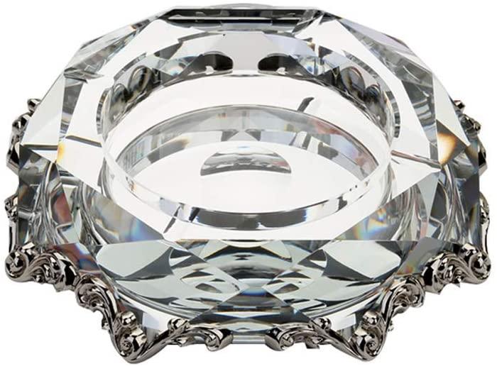 KFDQ Novelty Ashtray-Crystal Multi-Function Waterproof and Dustproof Sleek Minimalist Household Items,Silver