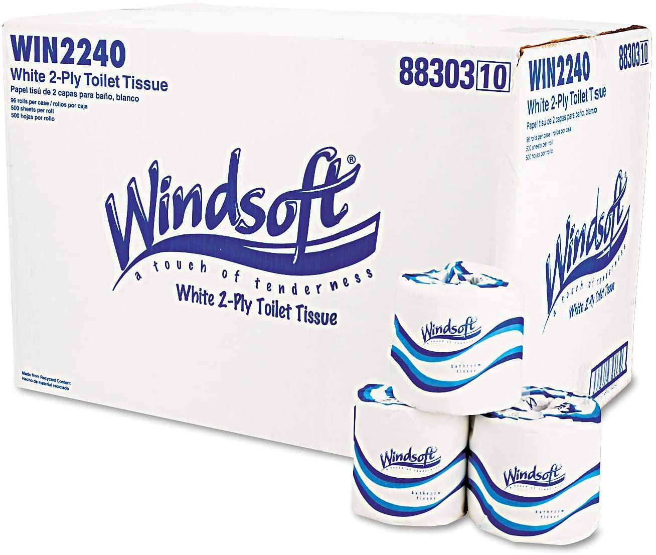 A Product of Windsoft Bath Tissue, 2-Ply, 500 Sheets - 96 Rolls- Toilet Paper