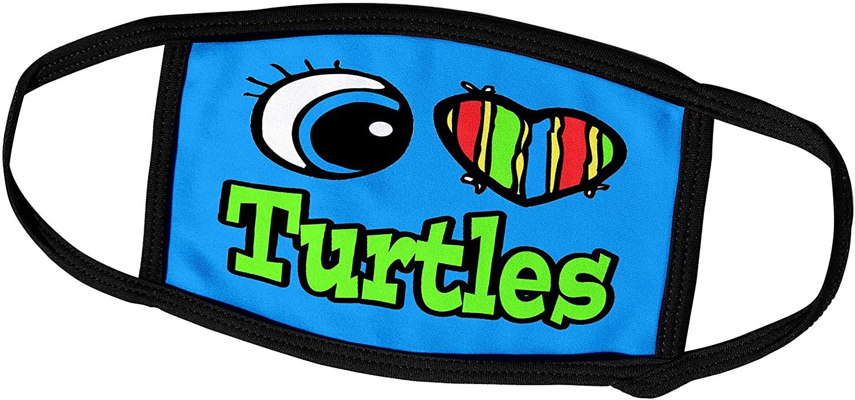 3dRose Dooni Designs Eye Heart I Love Designs - Bright Eye Heart I Love Turtles - Face Masks (fm_106666_3)