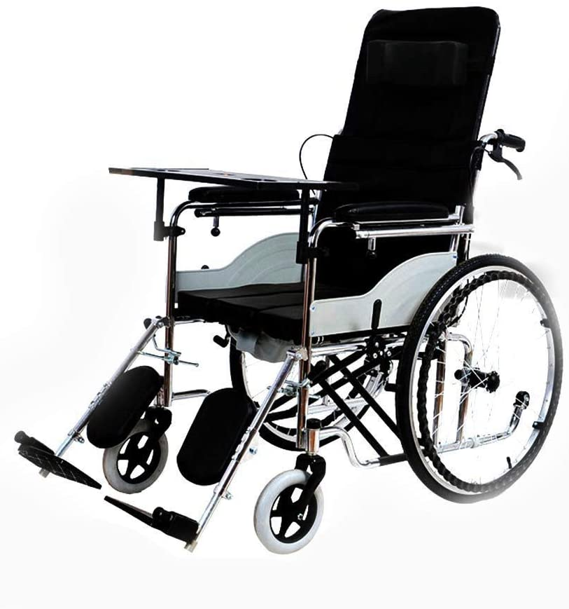BXZ Wheelchair Adult Portable Foldable Portable Portable Old Man Potty Handicapped Four Wheel Brake, Ultra Light Self-Propelled Manual Walker