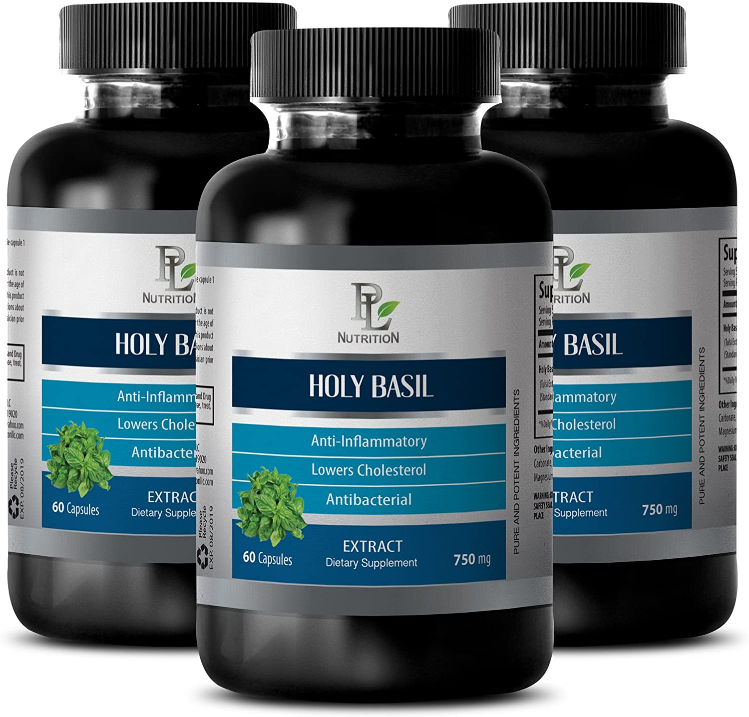 Immune System Supplement and Energy - HOLY Basil Extract (Dietary Supplement) - Basil Supplement - 3 Bottles 180 Capsules
