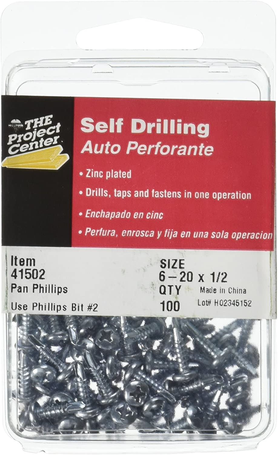 The Project Center 41502 6-20 by 1/2 Pan Head Self Drilling Screw with Phillips Drive