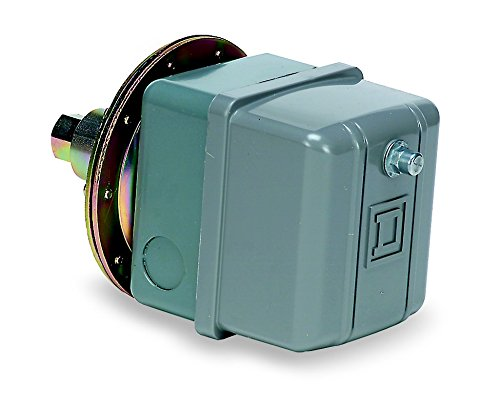 Square D 9016GVG1J11 Commercial Electromechanical Vacuum Switch, NEMA 1, DPDT, 5-25 in. of Hg Cut-Out Range, 17-22 in. of Hg Settings