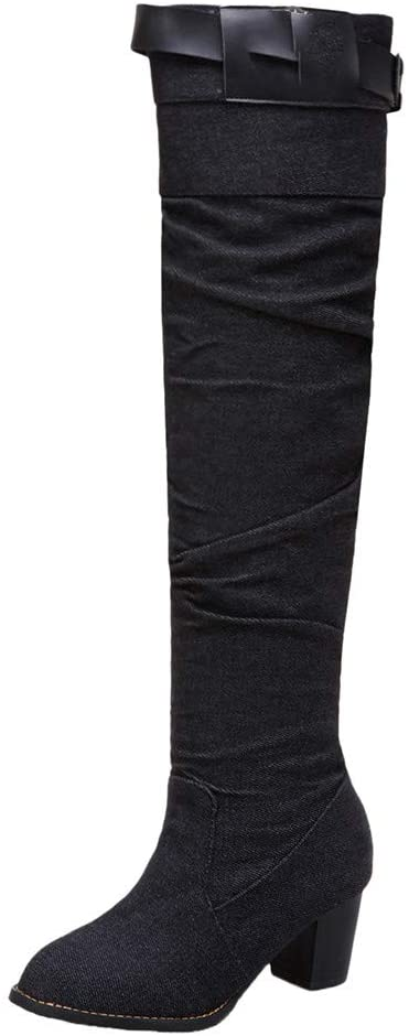 Women Knee High Boots,chenJBO Over The Knee Chunky Heel Shoes Denim Round Toe Zipper Motorcycle Booties