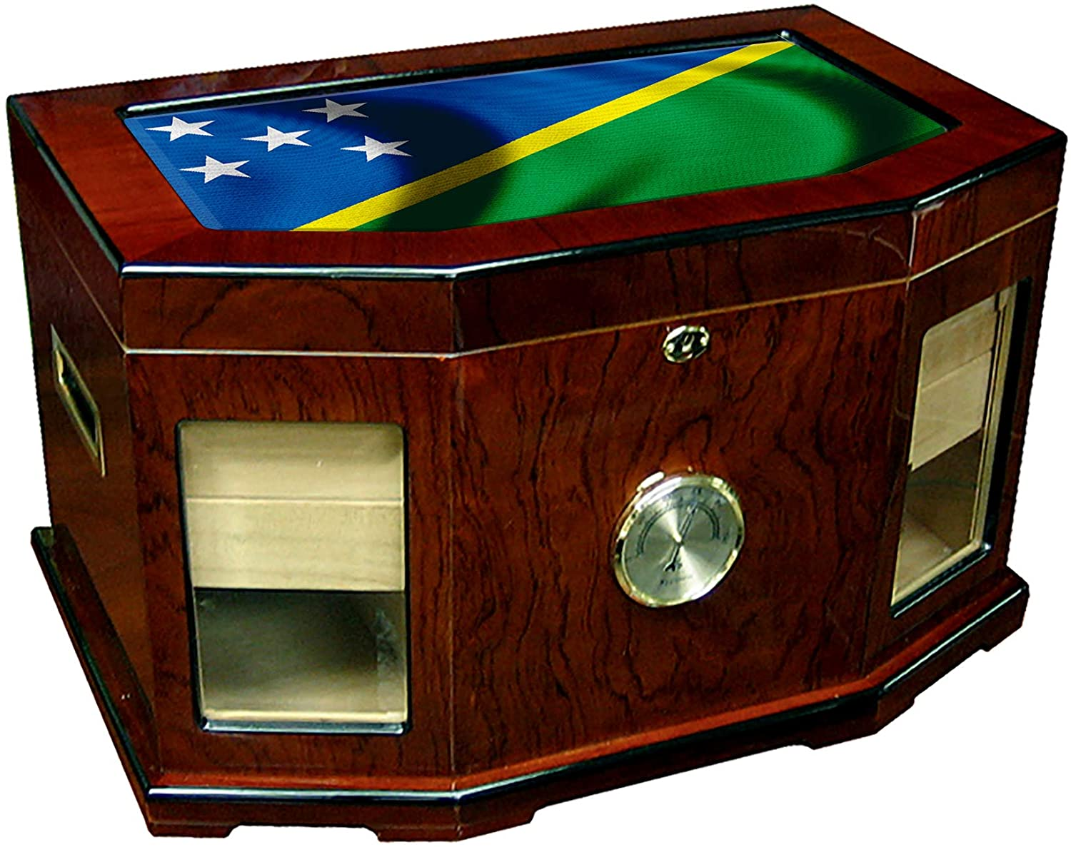 Large Premium Desktop Humidor - Glass Top - Flag of Solomon Islands (Islander) - Waves Design - 300 Cigar Capacity - Cedar Lined with Two humidifiers & Large Front Mounted Hygrometer.