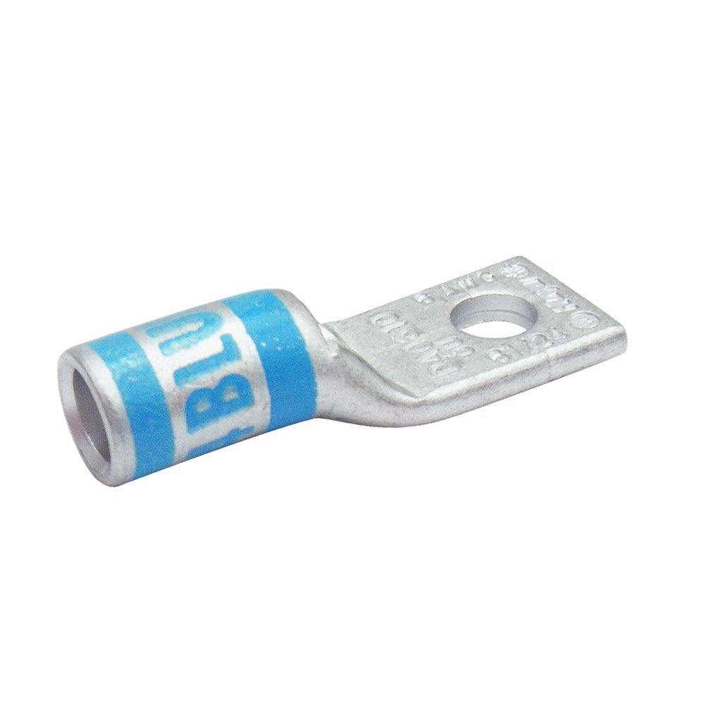 Huya Compression Connector Da0638 0ne Hole Lug Straight Standard Barrel, 6 AWG Wire, 3/8 Bolt Size, Tin Plated with Inspection Window(Price for one Piece,order per SPQ)