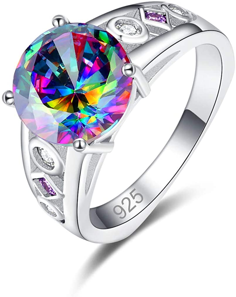 YAZILIND Round Rainbow Topaz Rings Promise Wedding Ring Engagement Ring for Women