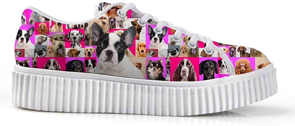 Zzjsstore Design Low Shoes 3D Printed Cute Dog Patterned Low Shoes are Suitable for Women's Leisure