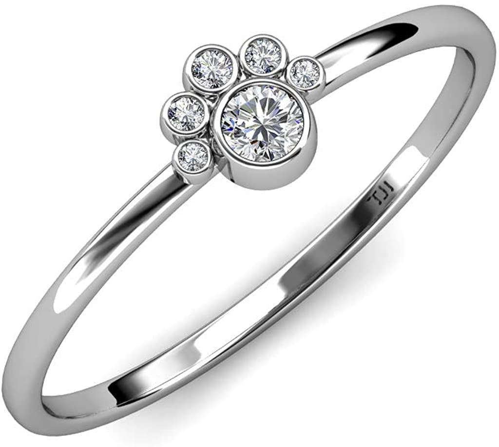 TriJewels Round Diamond 1/6 ctw Womens Paw Print Promise Ring 14K White Gold