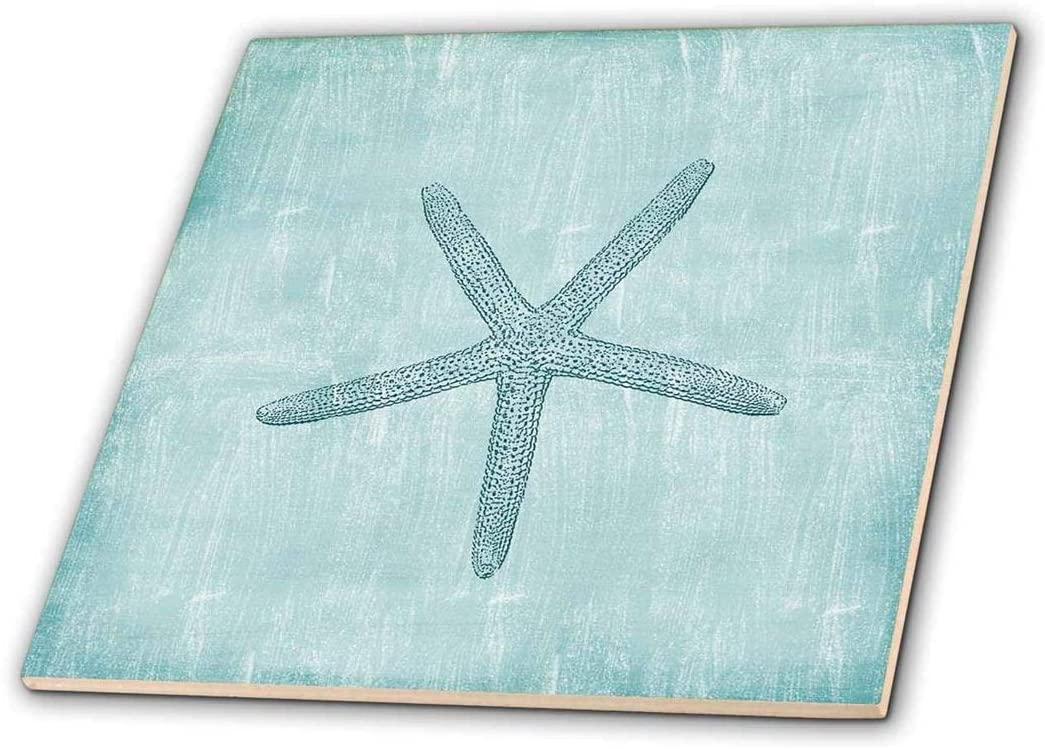 3dRose ct_178911_3 Aqua Starfish Abstract Beach Theme-Ceramic Tile, 8-Inch