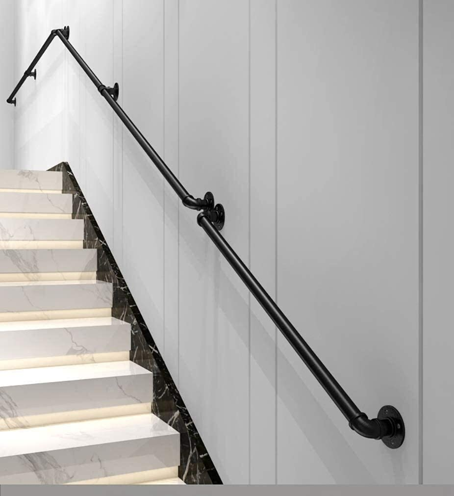 Indoor Villa Loft Kids Corridor Stairs Handrails, Black Metal Wrought Iron Handrails Against The Wall Elderly Handrail 1ft-20ft 0718 (Size : 4ft/120cm)