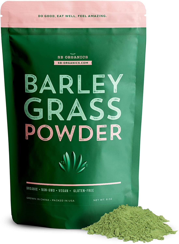 SB Organics Barley Grass Powder - 8 oz Bag of Organic Non-GMO Gluten-Free Dehydrated Barley Grass Powder