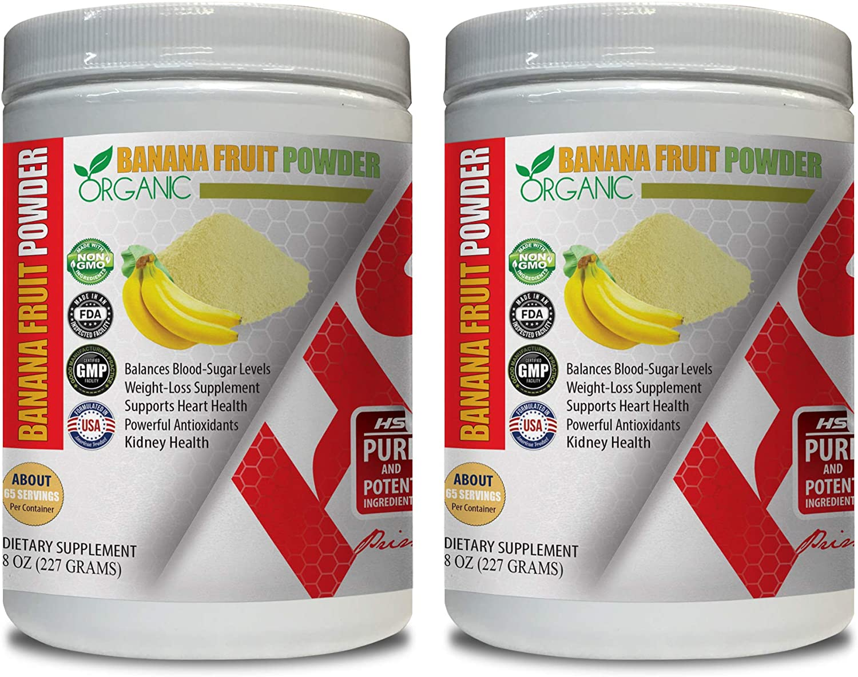 antioxidant Powder Organic - Banana Fruit Organic Powder - Banana Supplements - 2 Cans 16 OZ (130 Servings)