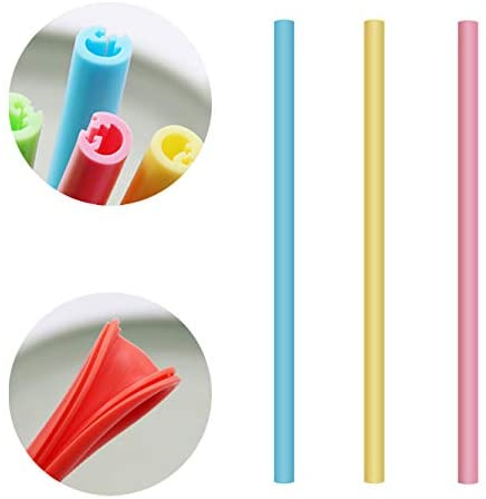 Vmini Reusable Silicone Straw, BPA free Openable and Washable Straw, 3 Pack, Blue + Pink + Yellow