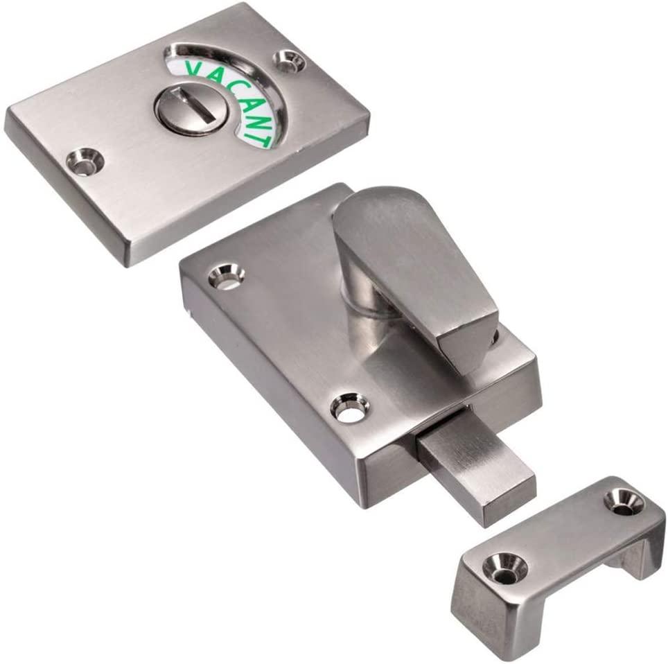 QOONESTL Door Lock Indicator,Toilet Bathroom Lock Vacant/Engaged Chrome Latch Indicating Dead Bolt Public Restroom Toilet Privacy Partition Door Lock Latch,Zinc,381335mm
