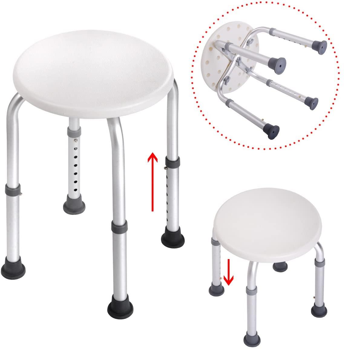JAXPETY 7 Height Adjustable Stool Bath Bench Lightweight Shower w/Non-Slip Seat Round White