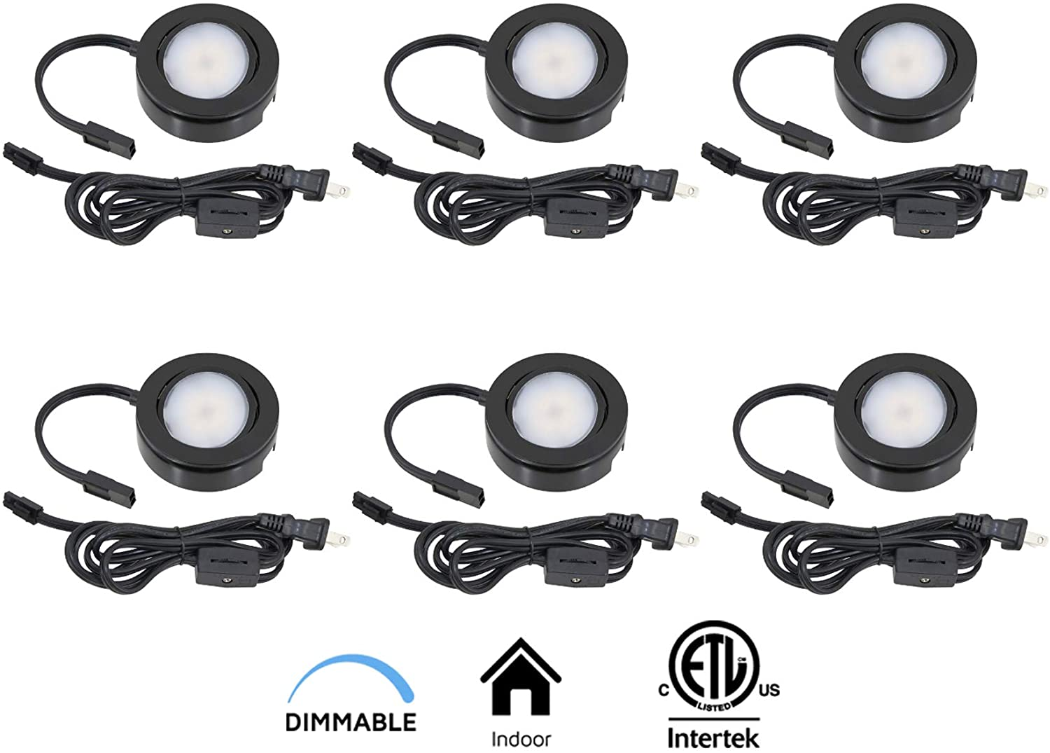 MVP Single Puck Kit with Roll Switch and 6 Foot Power Cord, 6-Inch Lead/Tail Wire and Hardware, Dimmable Swivel LED, cETLus Listed, 2-3/4-Inch, 3000K, Black, 6-Pack