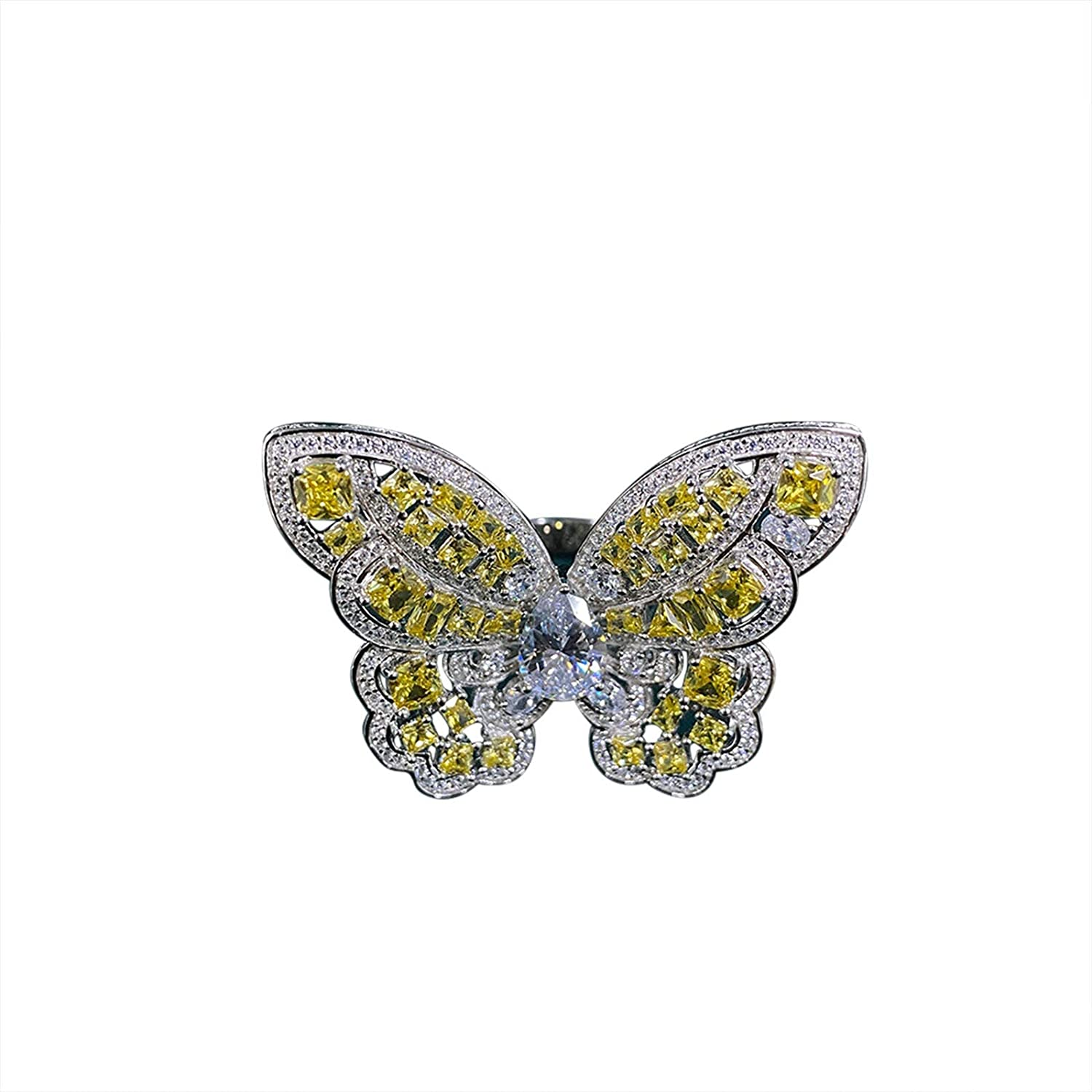 Beydodo Sterling Silver Wedding Rings Women, Engagement Rings for Women Diamond Butterfly Ring with Yellow and White Cubic Zirconia Size 5 to 9