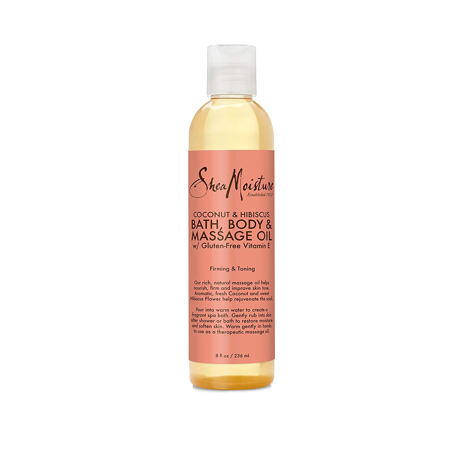 Sheamoisture Bath, Body and Massage Oil for Dry Skin Coconut Oil and Hibiscus to Illuminate Skin 8 oz