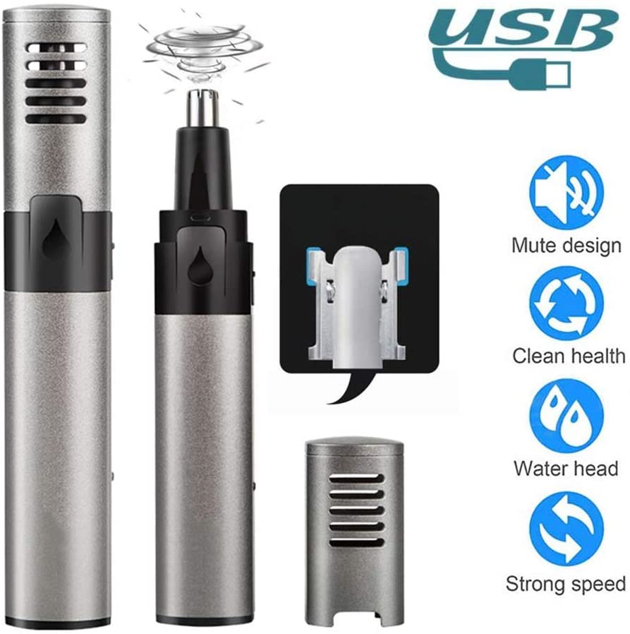 Ear and Nose Hair Trimmer,Nose Clippers,Three-Dimensional Curved Safety Blade Professional Powerful Motor USB Charging Whole Body Waterproof