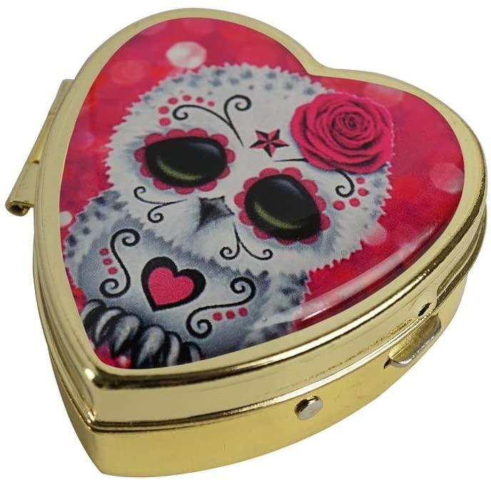 COW GO GO Cute Pink Day of The Dead Sugar Skull Owl Custom Design Fashion Gold Heart Glass Pill Case Decorative Metal Pill Box
