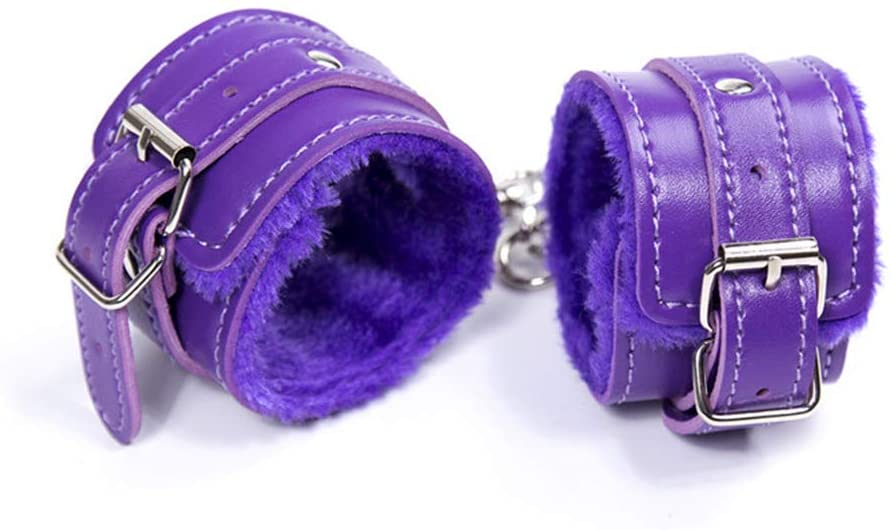 Fad-J PU Handcuffs, Bondage Toy Purple Tied Hands Soft Comfortable Adult Sex Toys BDSM for Couples Sex Play
