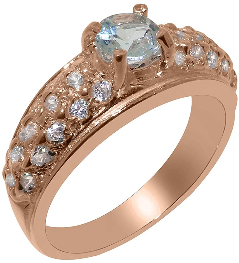 Solid 18k Rose Gold Natural Aquamarine & Diamond Womens Band Ring - Sizes 4 to 12 Available