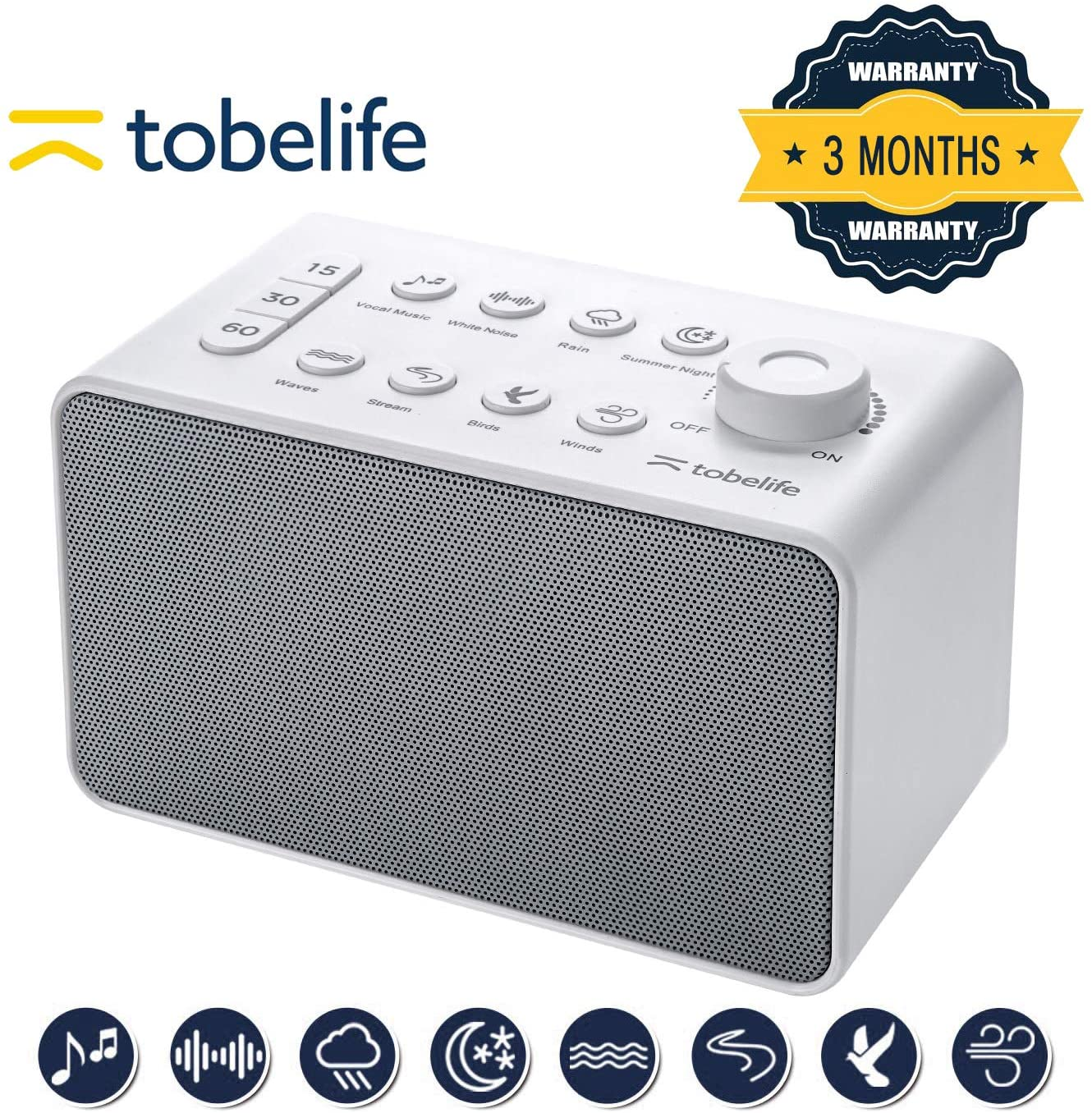 Tobelife Sounds Machine | White Noise Machine for Sleeping | Portable Sleep Therapy for Adults & Children 8 Soothing Sounds Machine | Sleep Sound for for Home, Office or Travel