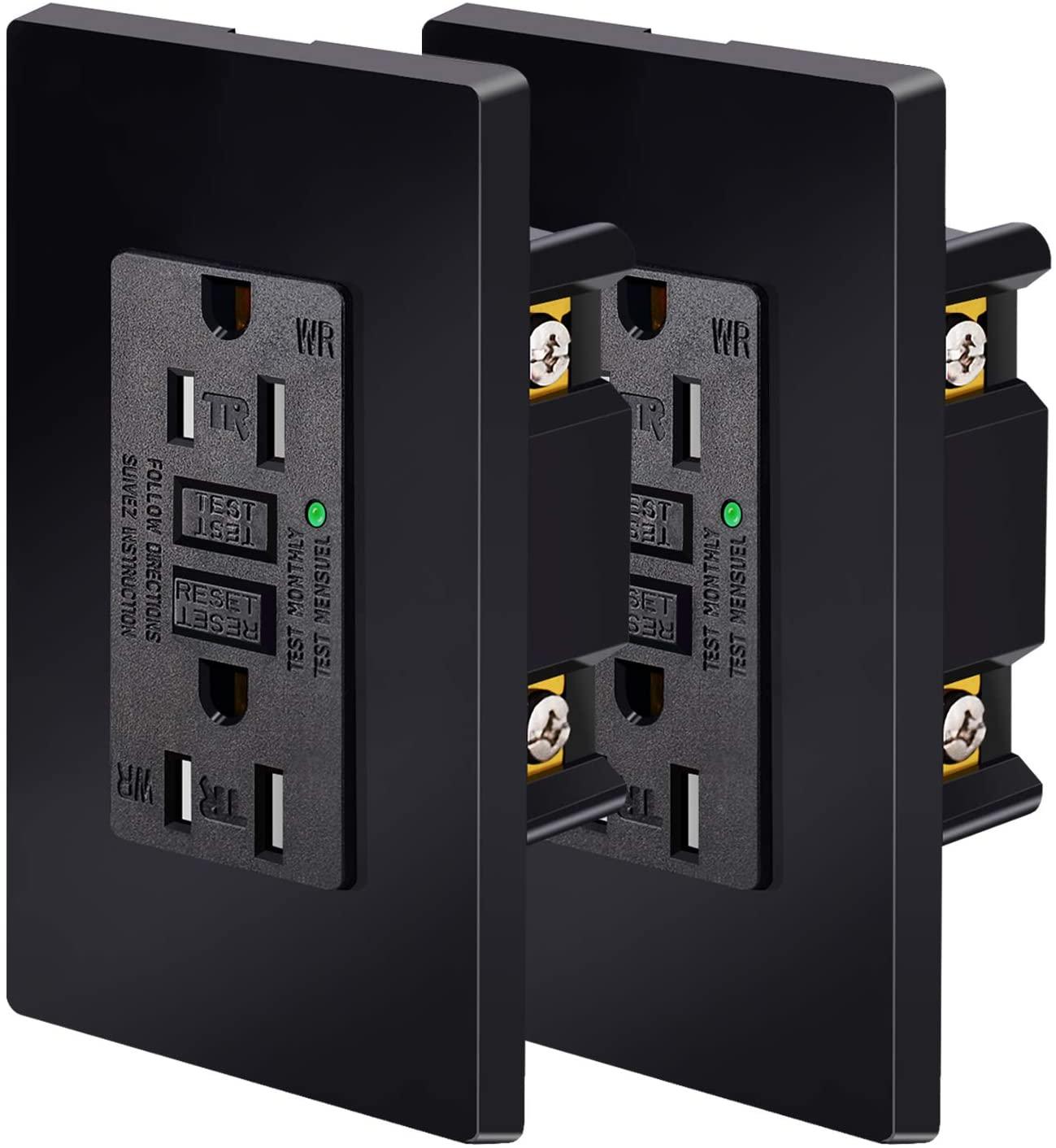 NineLeaf 2 Pack 15A 125V Tamper-Resistant(TR) Weather-Resistant(WR)GFCI Outlet Receptacles Slim Design LED Indicator Decorative Wall Plates and Screws Included ETL Certified Black