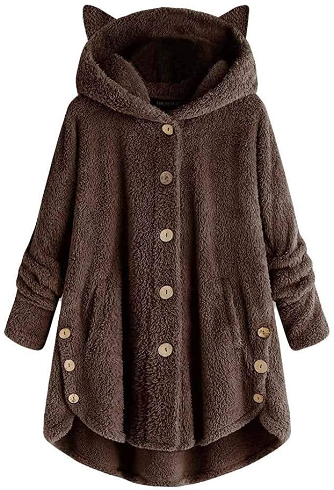 Womens Long Sleeve Fuzzy Fleece Open Front Hooded Cardigans Jacket Coats Outwear