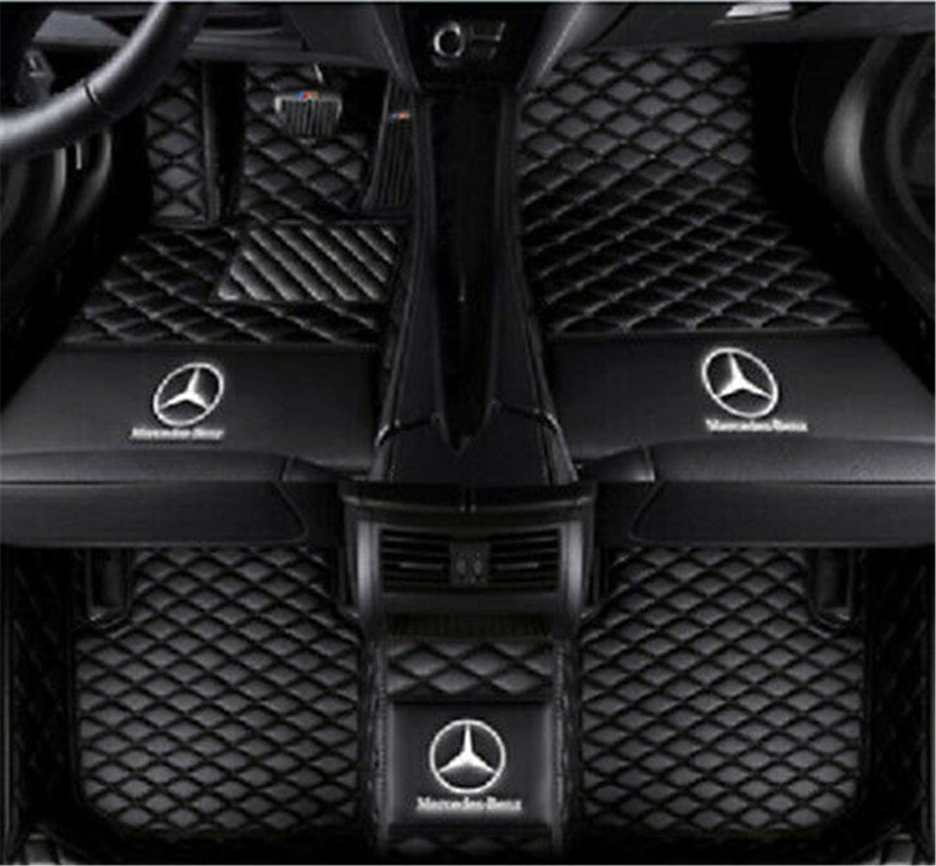 Fmingquhap Custom Fit XPE-Leather All Full Surrounded Waterproof Car Floor Mats for Mercedes Benz M CLA CLS R CLK SLC SL SLK Class with Logo. (Black, Benz M Class 2012-2016)