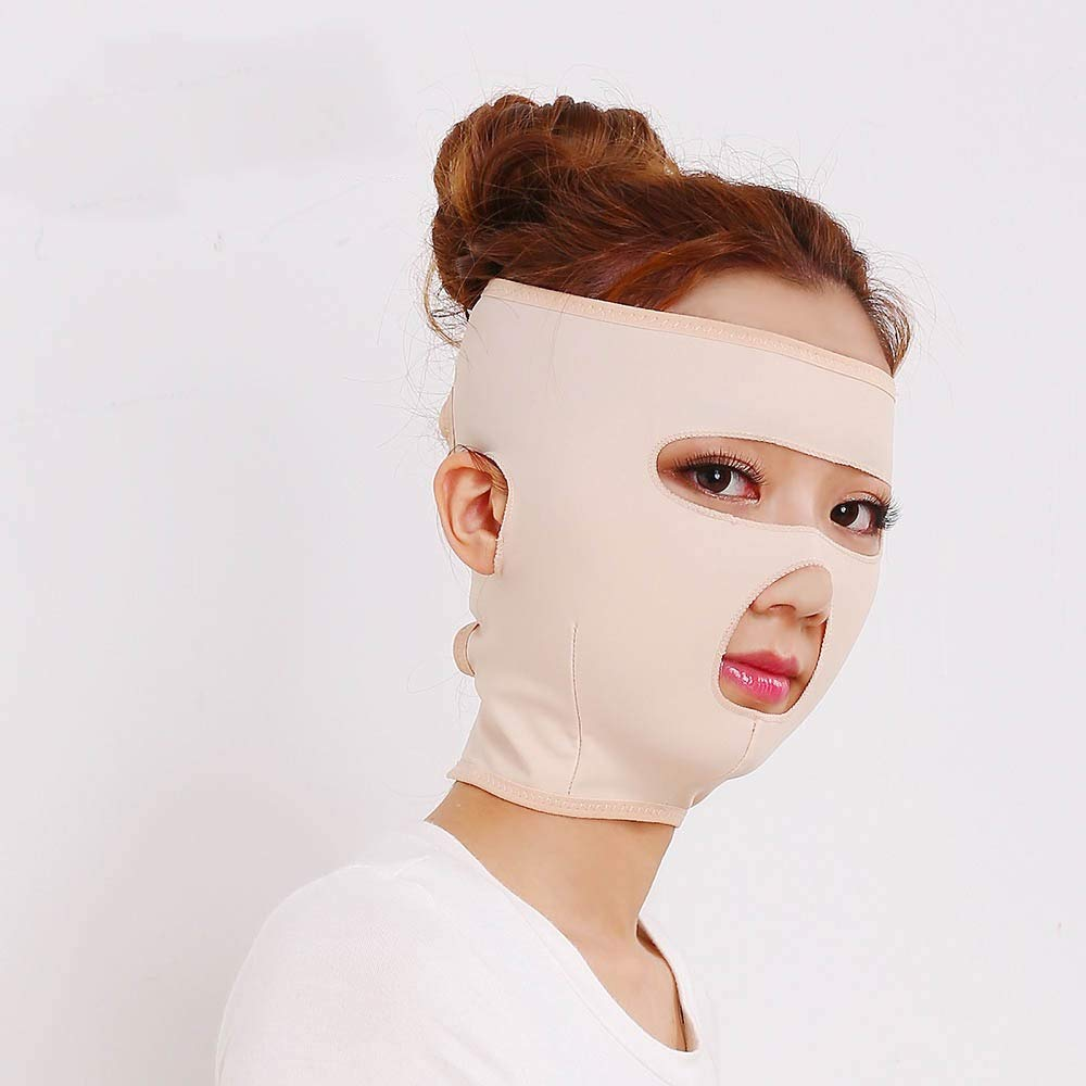 Face Slimming Mask,double Chin Reducer,Wrinkle V Face Chin Cheek Lift Up Slimming Slim Mask Ultra-thin Belt Strap Band Beauty Neck Mask Face Lift Up Thin Shape V Face Line Belt Practical (Size : L)