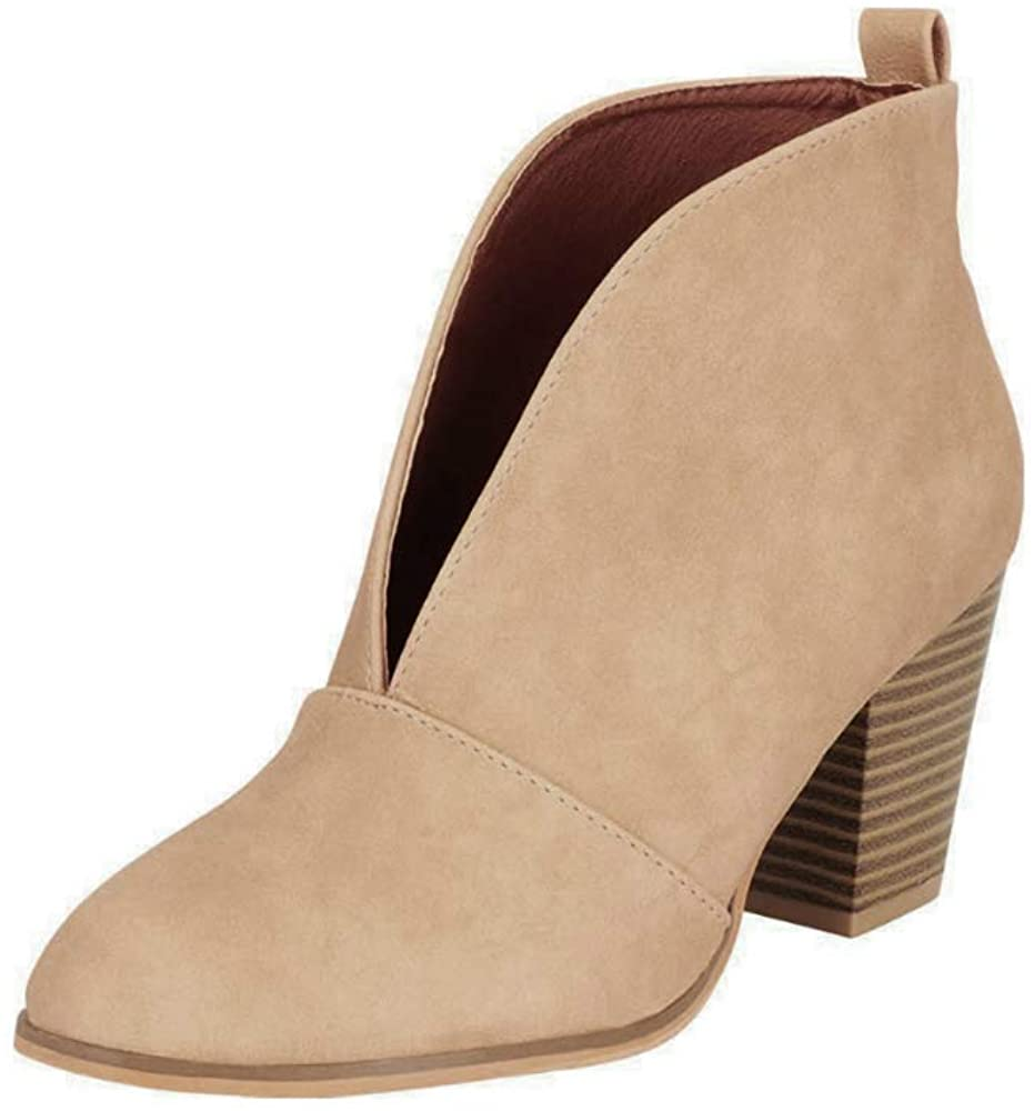 LAICIGO Womens Ruffled Ankle Booties Chunky Low Heel Cut Out Slip-on Pointed Toe Western Shoes