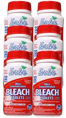 Evolve Bleach Tablets, 6 Pack case, 192 Tablets (Spring Berry Scent)