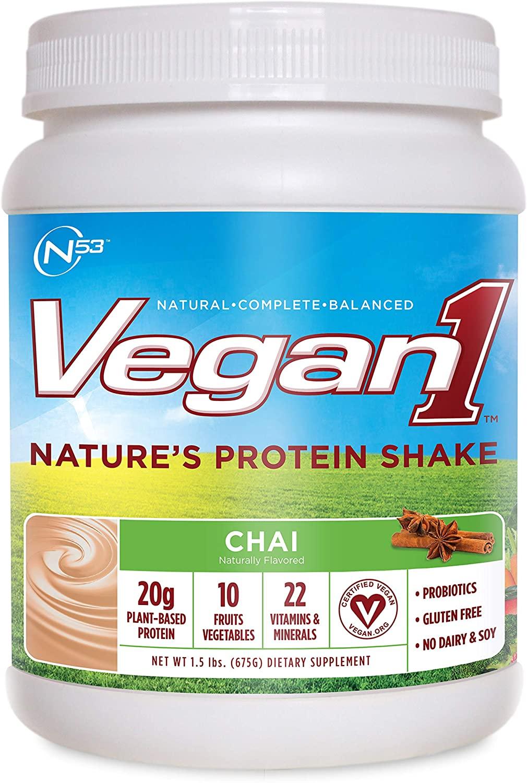 Nutrition 53 Vegan 1 Natural Protein Shake Powder, Natural, Balanced, Chai (1.5 lb)