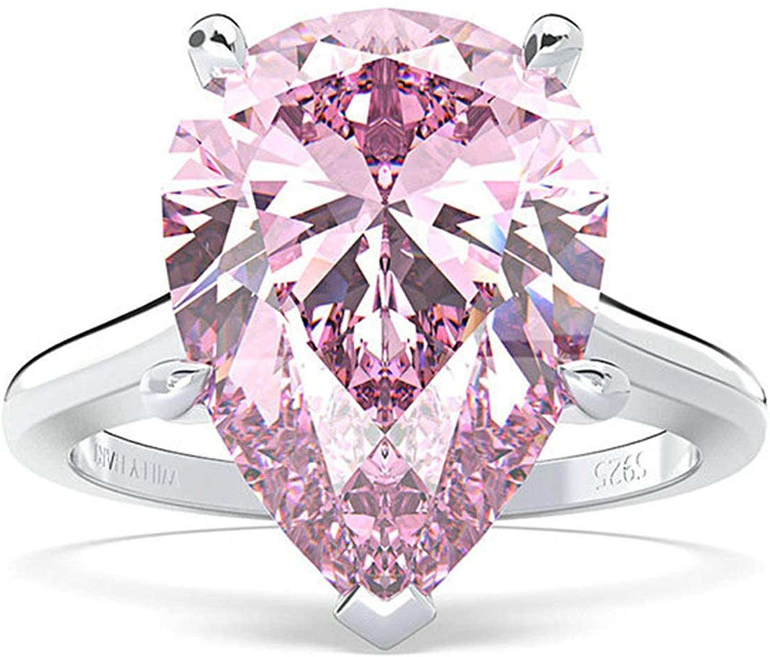 AMDXD Sterling Silver Ring for Women Pear Cut Pink Cubic Zirconia 14x10mm Promise Ring Her