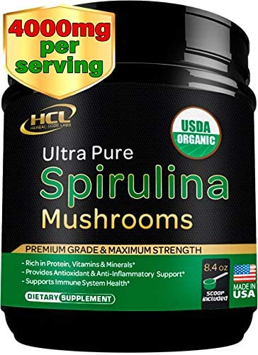 Organic Spirulina Powder with Mushrooms Extract – 4000 mg per serv - Pure Non-Irradiated Blue Green Algae - Raw Vegan Protein Green Superfood - Immune System Booster & Natural Multivitamins