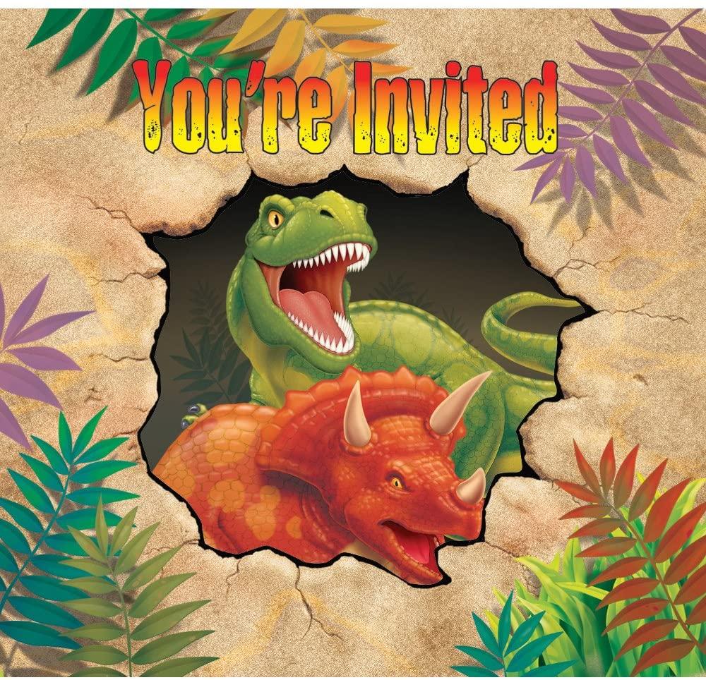 Creative Converting Dino Blast 8 Count Enhanced Party Invitations