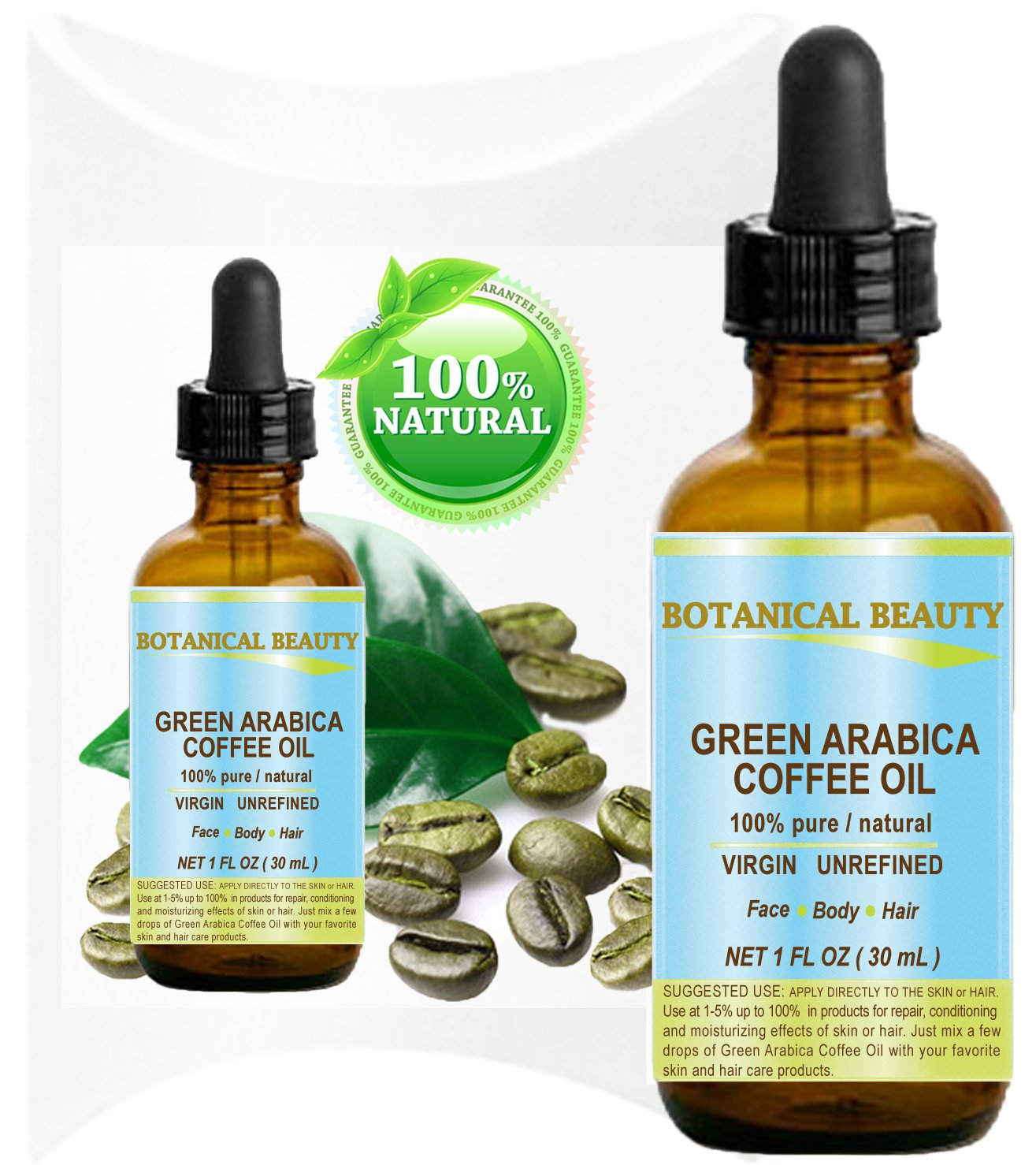 GREEN ARABICA COFFEE OIL Brazilian. 1 Fl.oz- 30 ml. 100% Pure/Premium Quality. For Skin, Hair, Lip and Nail Care. Wrinkle Reducer, Skin Lift/Tone, Anti- Puffiness/Dark Circles, Anti Cellulite.
