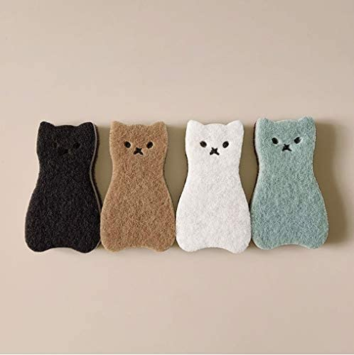 Sink Cat Dish Sponge Scrubber for Washing Dishes Dishwashing Cloth Scrubber Pack of 4 (Brown Set)