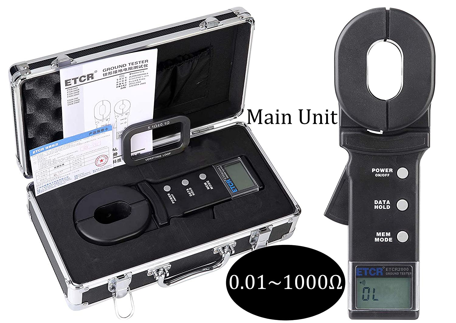 HFBTE Clamp Ground Resistance Tester Meter 0.01~1000Ω ETCR2000 Earth Resistance Tester Loop Resistance Measurement with 99 Sets Data Storage Function Alarm System