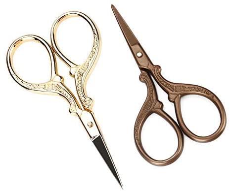 nobrand 2-Piece Crane-Shaped Stainless Steel Makeup Scissors Eyebrow Scissors